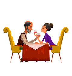 Romantic couple drinking wine in cafe vector
