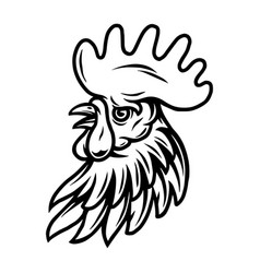 rooster head vintage tattoo concept vector image