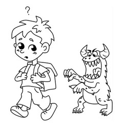scary monster follows the boy trying to scare him vector image