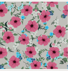 seamless pattern with cute different wild flowers vector image