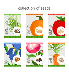 Seeds collection of flowers and vegetables vector