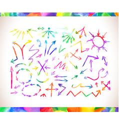 Set of colorful watercolor arrows vector