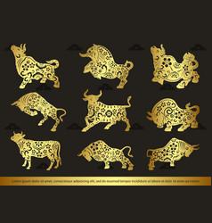 Set zodiac fortune symbol cows vector