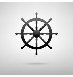 Ship wheel black icon vector