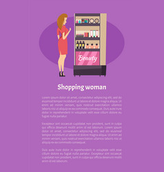 shopping woman near beauty cosmetics stand poster vector image