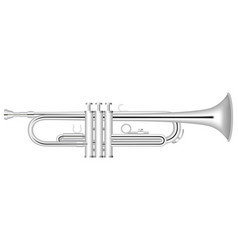 silver trumpet icon realistic style vector image