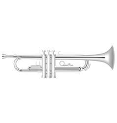 Silver trumpet icon realistic style vector