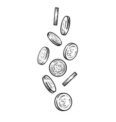 sketch of falling coins vector image