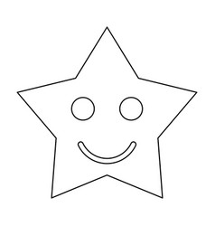 smiling star black color path icon vector image