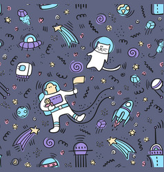 space doodle pattern dark background pattern vector image