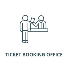 ticket booking office line icon linear vector image