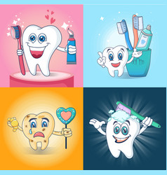 toothbrush fun banner concept set cartoon style vector image