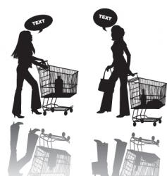 two girls shop vector image