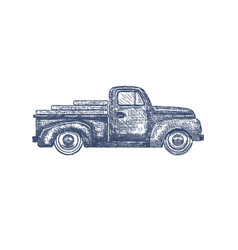 Vintage retro pickup truck isolated on white vector