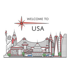 welcome to usa poster in linear style vector image