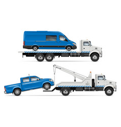White tow trucks from side view vector