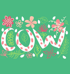 Word cow lettering white in colors on green vector