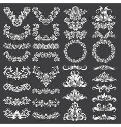 Big set of ornamental elements for design White vector image