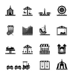 Black icon set of amusement park carousel and vector