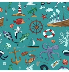 Colored Nautical or marine themed seamless pattern vector image vector image