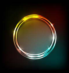 colorful neon circles banner abstract background vector image vector image