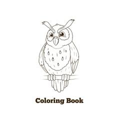 Coloring book forest owl bird cartoon vector image