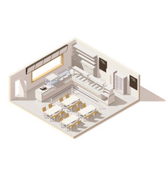 isometric low poly self service restaurant vector image vector image