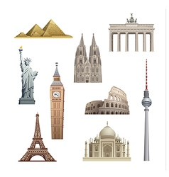 landmarks of the world vector image vector image