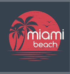 miami sunset t-shirt and apparel design vector image