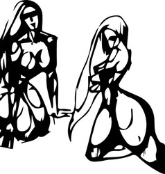 Silhouettes of the Sitting Women vector image vector image