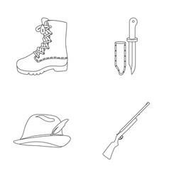 boots knife with a cover gun hat with a feather vector image vector image