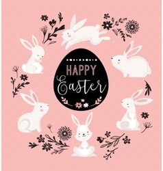 Easter design with cute banny and text hand drawn vector