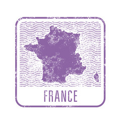 france travel stamp with silhouette of map of vector image vector image