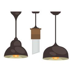 lamp set isolated interior light design vector image