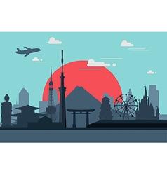 Silhouette of Tokyo city in JapanJapan landmarks F vector image