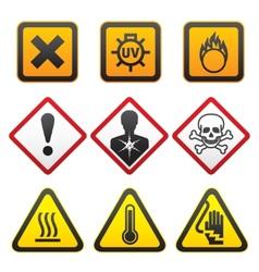 warning symbols hazard signsforth set vector image vector image