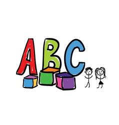 a b c letter color vector image
