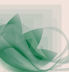 Abstract green waves and flower pattern vector image vector image