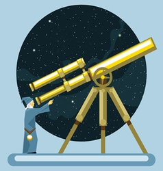 Ancient mag looking into a telescope and pointing vector