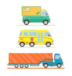 cartoon transport set postal truck school bus vector image vector image