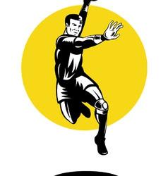 Handball Player Jumping Retro vector image