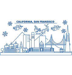 usa california san francisco winter city skyline vector image