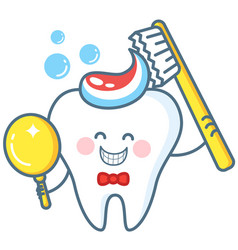 cartoon tooth with toothpaste and mirror vector image vector image