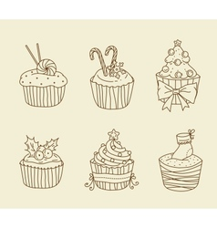 Christmas cupcakes vector image vector image