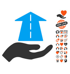 Future care hand icon with lovely bonus vector