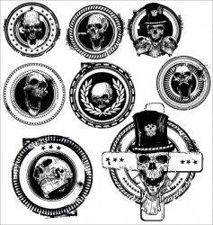 grunge skull rubber stamps vector image vector image