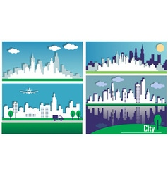 Silhouettes of the big cities vector image vector image