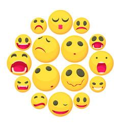 yellow smiles fun icons set cartoon style vector image