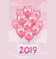 2019 year of the pig funny poster with vector