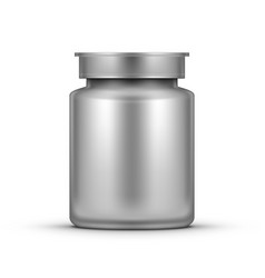 3d realistic glossy plastic pill bottle package vector